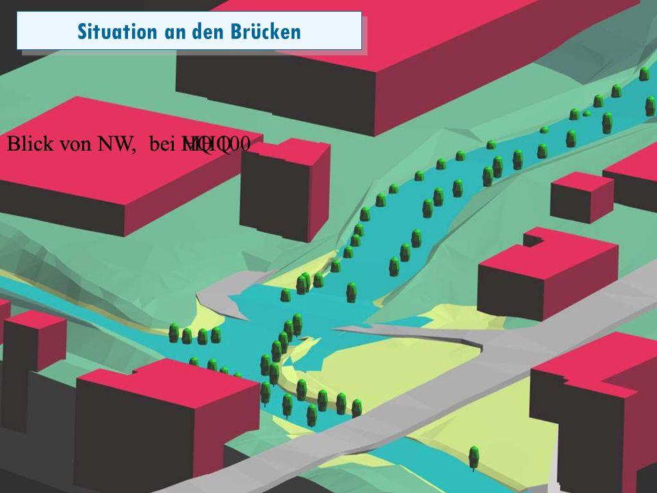 Folie 16 Blick von NW, bei MHQ Situation an den Brücken Blick von NW, bei HQ 100