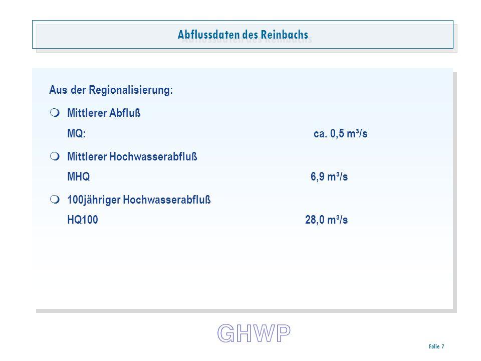 Folie 7 Abflussdaten des Reinbachs Aus der Regionalisierung: Mittlerer Abfluß MQ:ca.