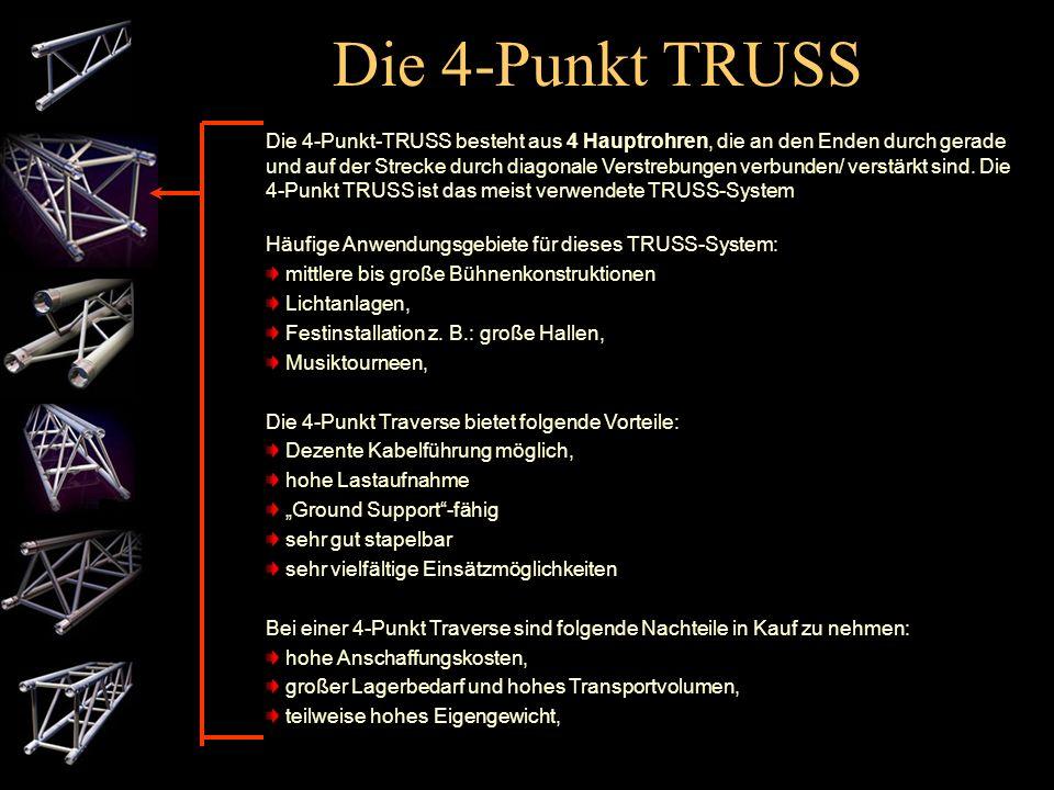 Die 3-Punkt TRUSS Die 3-Punkt-TRUSS besteht aus 3 Hauptrohren, die an den Enden durch gerade und auf der Strecke durch diagonale Verstrebungen verbund