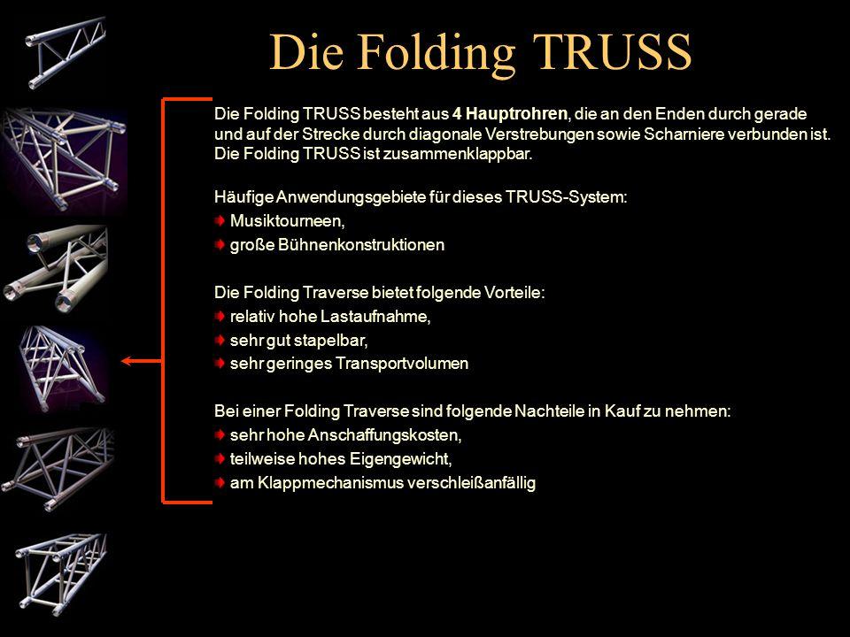 Die 4-Punkt TRUSS Die 4-Punkt-TRUSS besteht aus 4 Hauptrohren, die an den Enden durch gerade und auf der Strecke durch diagonale Verstrebungen verbund