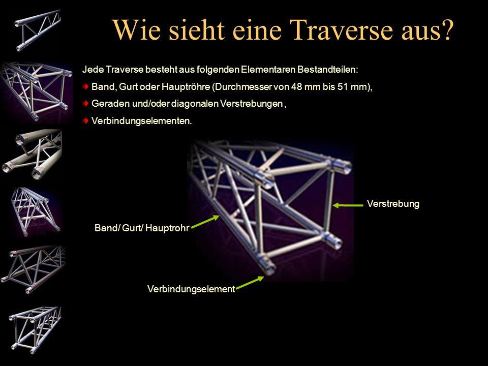 Welche Traversentypen gibt es? Es gibt verschiedene Bauformen von Traversen. Standardmäßig werden folgende Bauformen angewandt: 2-Punkt Truss, 3-Punkt