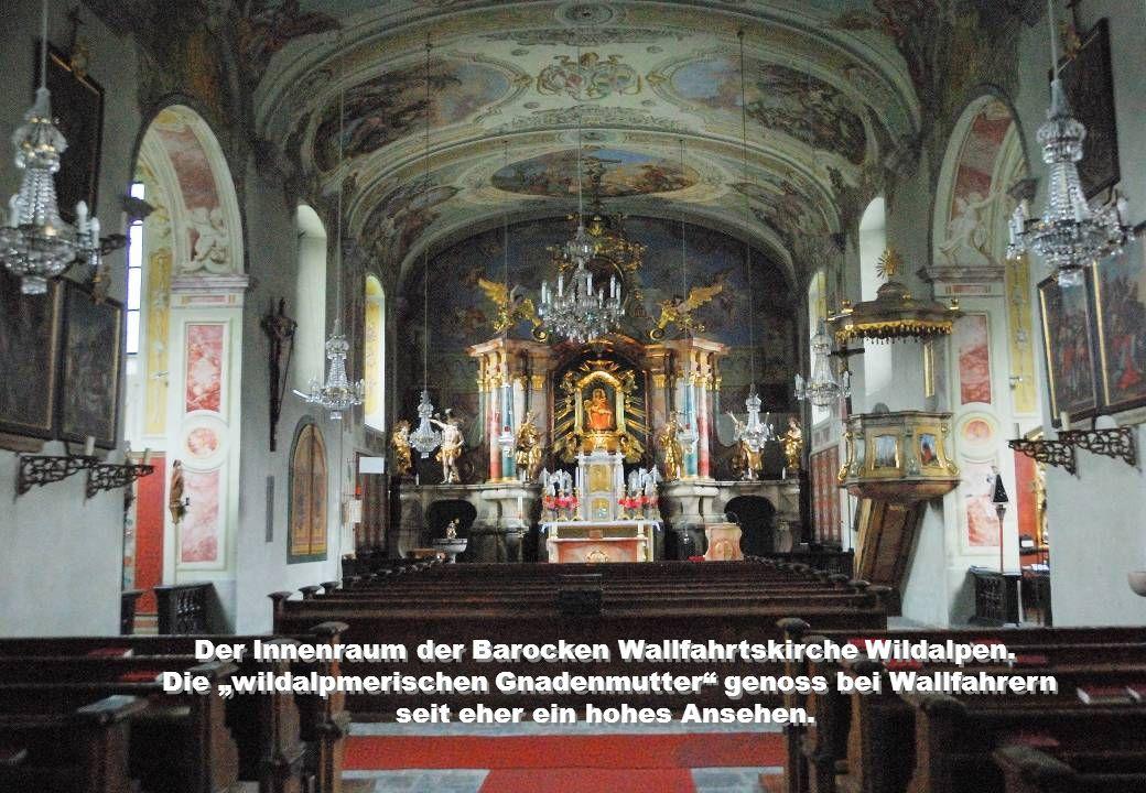 Der Innenraum der Barocken Wallfahrtskirche Wildalpen.