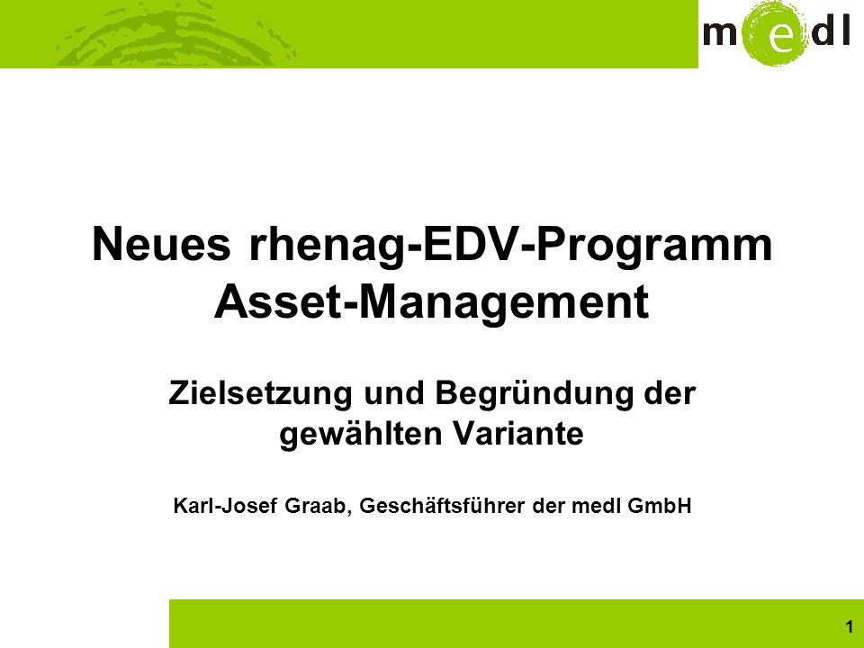 1 Neues rhenag-EDV-Programm Asset-Management Zielsetzung und Begründung der gewählten Variante Karl-Josef Graab, Geschäftsführer der medl GmbH