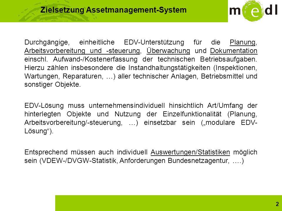 2 Zielsetzung Assetmanagement-System Durchgängige, einheitliche EDV-Unterstützung für die Planung, Arbeitsvorbereitung und -steuerung, Überwachung und