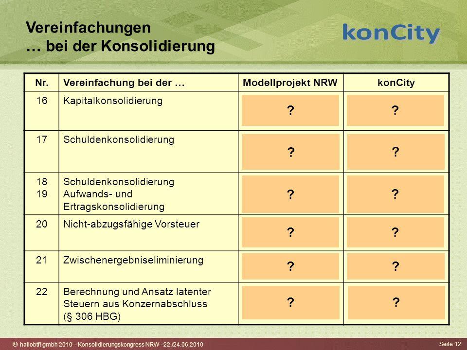 hallobtf! gmbh 2010 – Konsolidierungskongress NRW –22./24.06.2010 Seite 12 Vereinfachungen … bei der Konsolidierung Nr.Vereinfachung bei der …Modellpr