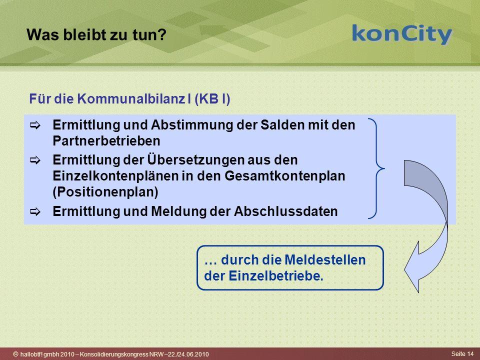 hallobtf! gmbh 2010 – Konsolidierungskongress NRW –22./24.06.2010 Seite 14 Was bleibt zu tun? Ermittlung und Abstimmung der Salden mit den Partnerbetr