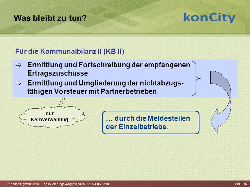 hallobtf! gmbh 2010 – Konsolidierungskongress NRW –22./24.06.2010 Seite 15 Was bleibt zu tun? Ermittlung und Fortschreibung der empfangenen Ertragszus