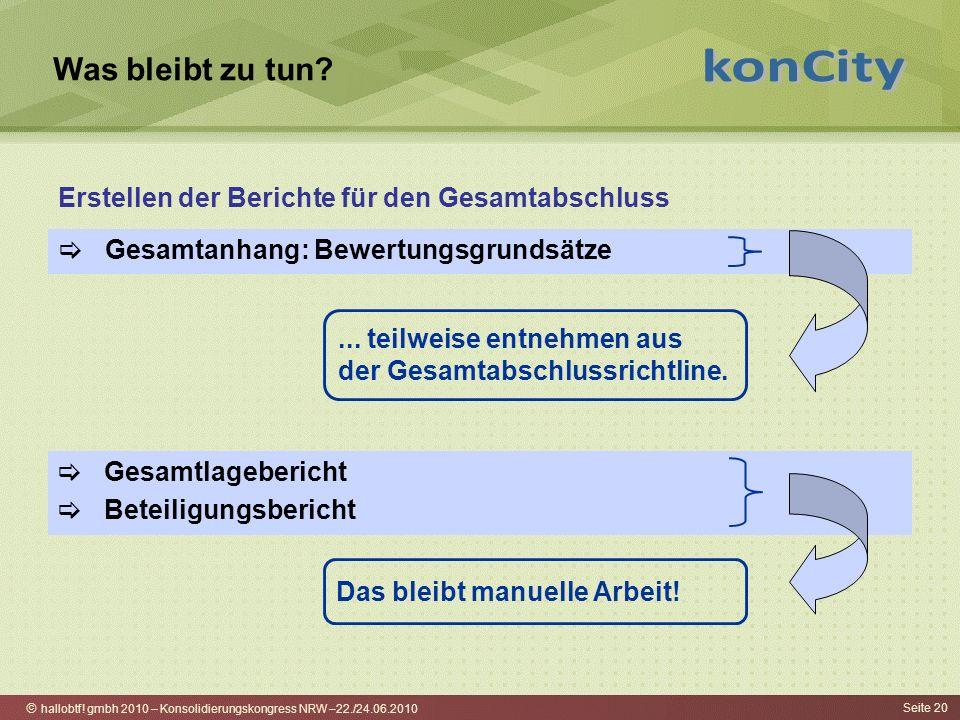 hallobtf! gmbh 2010 – Konsolidierungskongress NRW –22./24.06.2010 Seite 20 Was bleibt zu tun? Gesamtanhang: Bewertungsgrundsätze Erstellen der Bericht
