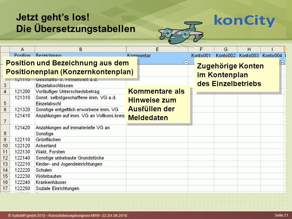 hallobtf! gmbh 2010 – Konsolidierungskongress NRW –22./24.06.2010 Seite 21 Jetzt gehts los! Die Übersetzungstabellen Position und Bezeichnung aus dem