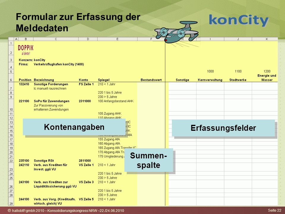 hallobtf! gmbh 2010 – Konsolidierungskongress NRW –22./24.06.2010 Seite 22 Formular zur Erfassung der Meldedaten Kontenangaben Erfassungsfelder Summen