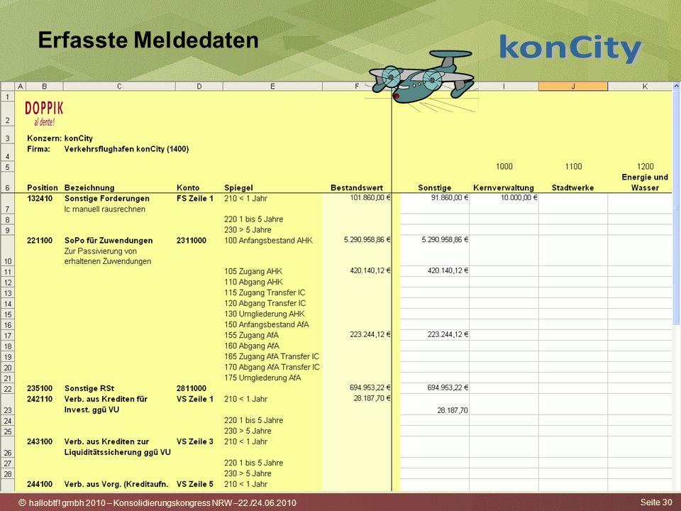 hallobtf! gmbh 2010 – Konsolidierungskongress NRW –22./24.06.2010 Seite 30 Erfasste Meldedaten