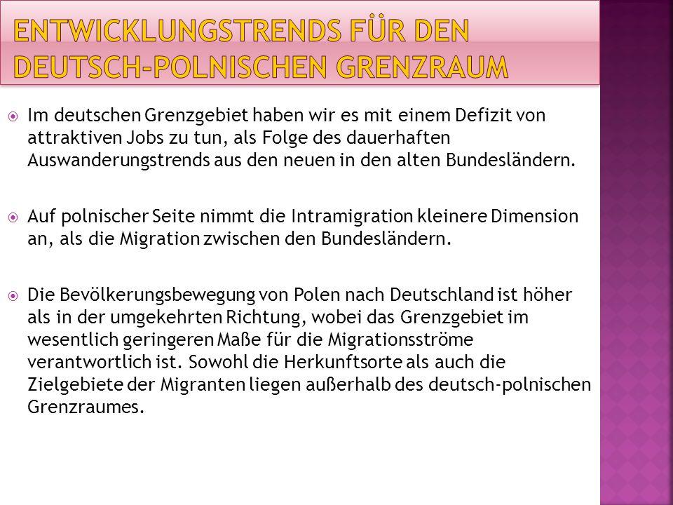 Im deutschen Grenzgebiet haben wir es mit einem Defizit von attraktiven Jobs zu tun, als Folge des dauerhaften Auswanderungstrends aus den neuen in den alten Bundesländern.