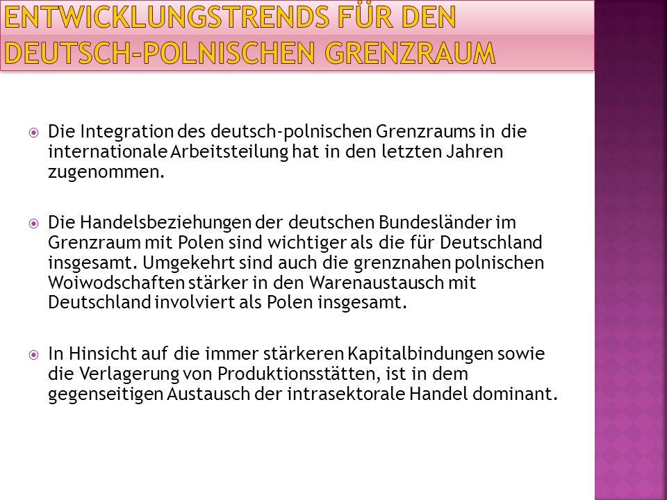 Die Integration des deutsch-polnischen Grenzraums in die internationale Arbeitsteilung hat in den letzten Jahren zugenommen. Die Handelsbeziehungen de