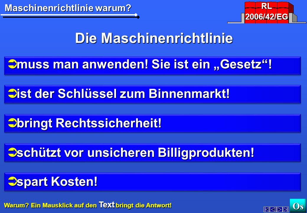 Warum? Maschinen-RichtlinieAnwenden? 2006/42/EG2006/42/EG http://www.maschinenrichtlinie.dehttp://www.maschinenrichtlinie.de OsOs