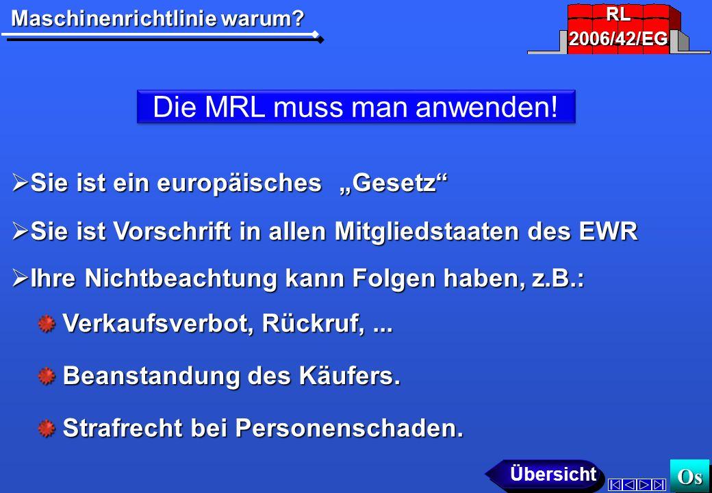 Maschinenrichtlinie warum.Os OsOs Die MRL muss man anwenden.