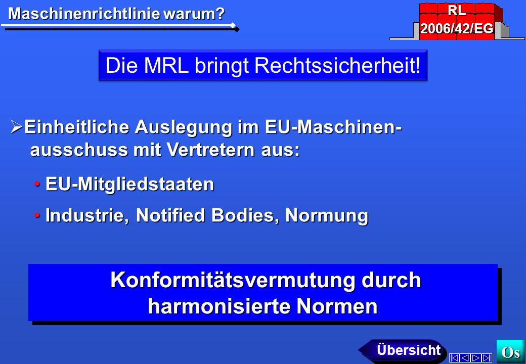 Maschinenrichtlinie warum.Os Die MRL bringt Rechtssicherheit.