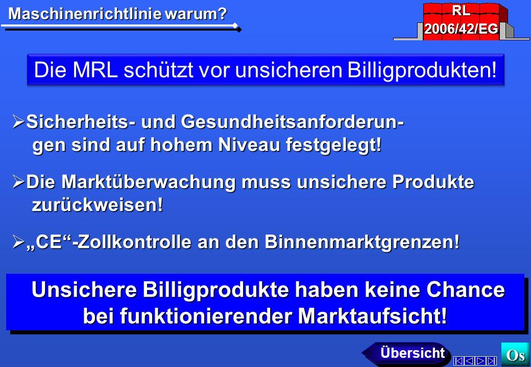 Maschinenrichtlinie warum.Os Die MRL schützt vor unsicheren Billigprodukten.