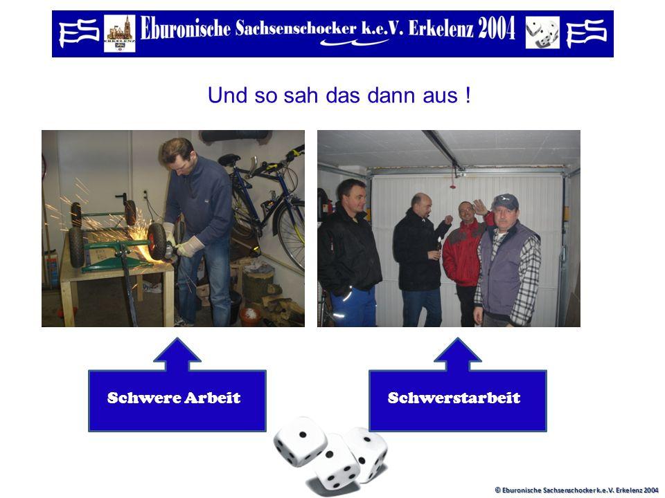 © Eburonische Sachsenschocker k.e.V. Erkelenz 2004 Es ging los mit wilden Planungen, Skizzen, Vermessungen und plötzlich stand ein Konzept !