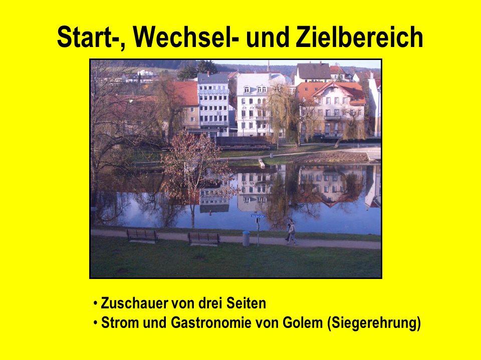 Start-, Wechsel- und Zielbereich Zuschauer von drei Seiten Strom und Gastronomie von Golem (Siegerehrung)