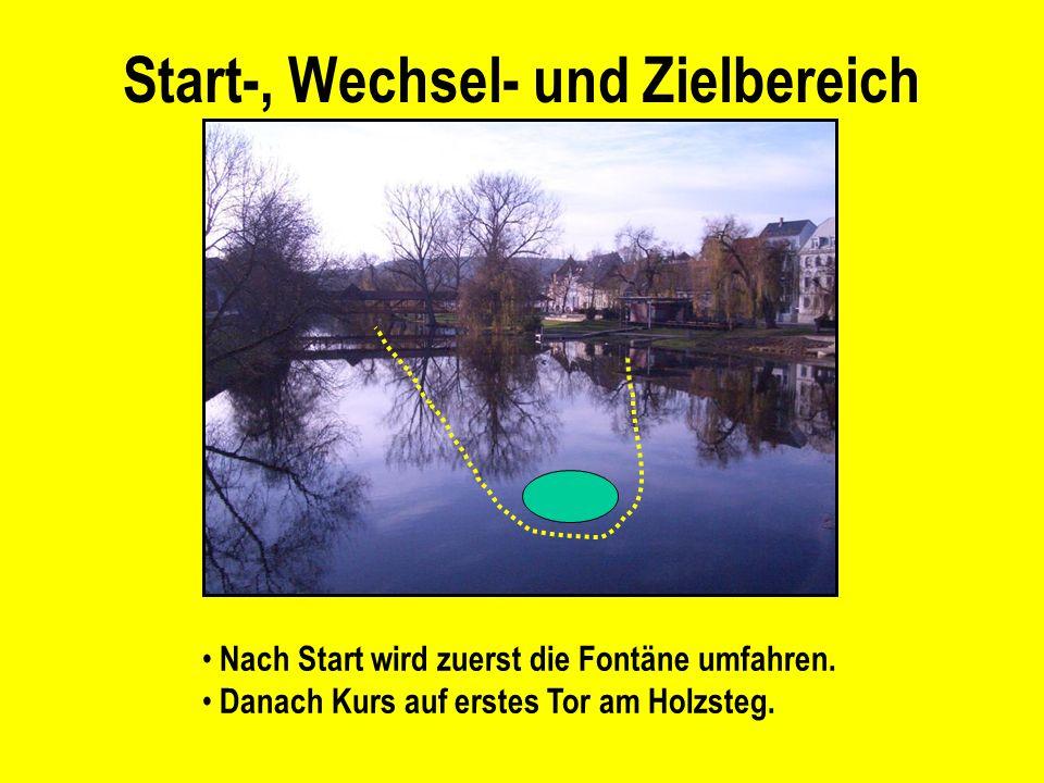 Start-, Wechsel- und Zielbereich Nach Start wird zuerst die Fontäne umfahren.