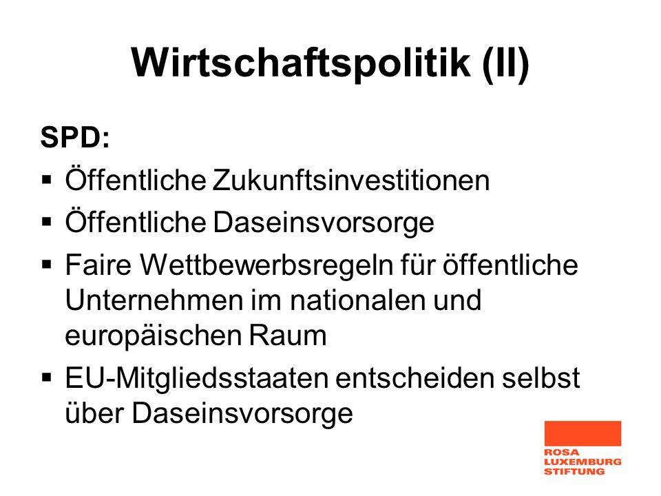 Wirtschaftspolitik (II) SPD: Öffentliche Zukunftsinvestitionen Öffentliche Daseinsvorsorge Faire Wettbewerbsregeln für öffentliche Unternehmen im nati
