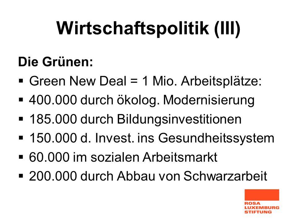 Wirtschaftspolitik (III) Die Grünen: Green New Deal = 1 Mio. Arbeitsplätze: 400.000 durch ökolog. Modernisierung 185.000 durch Bildungsinvestitionen 1