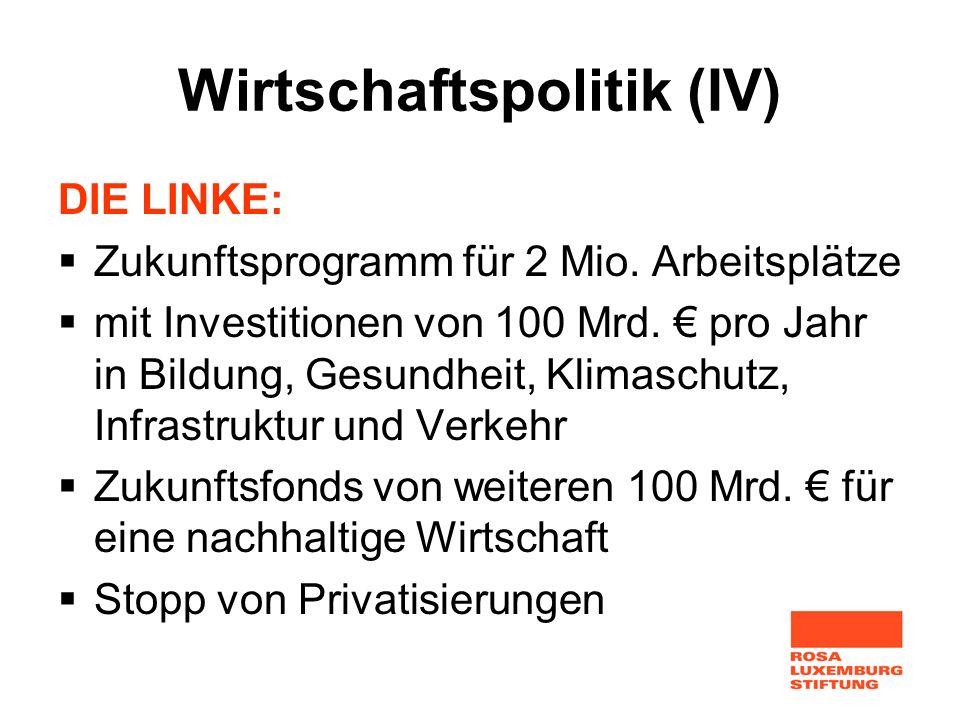 Wirtschaftspolitik (IV) DIE LINKE: Zukunftsprogramm für 2 Mio. Arbeitsplätze mit Investitionen von 100 Mrd. pro Jahr in Bildung, Gesundheit, Klimaschu