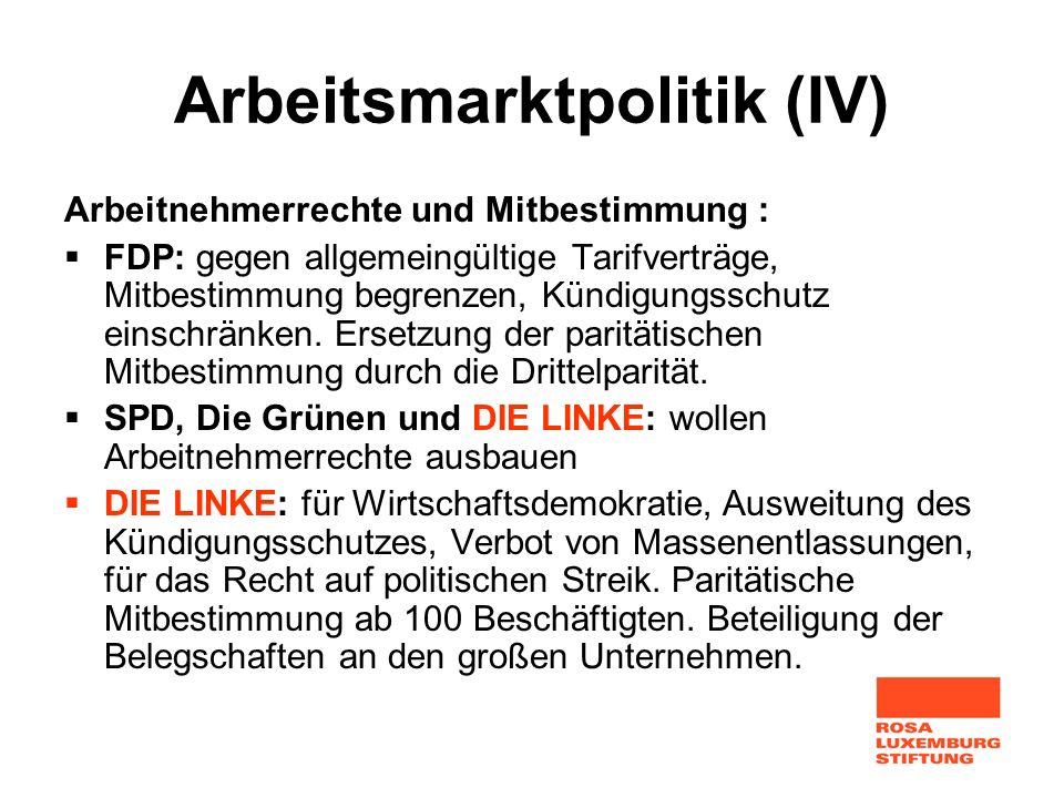Arbeitsmarktpolitik (IV) Arbeitnehmerrechte und Mitbestimmung : FDP: gegen allgemeingültige Tarifverträge, Mitbestimmung begrenzen, Kündigungsschutz e
