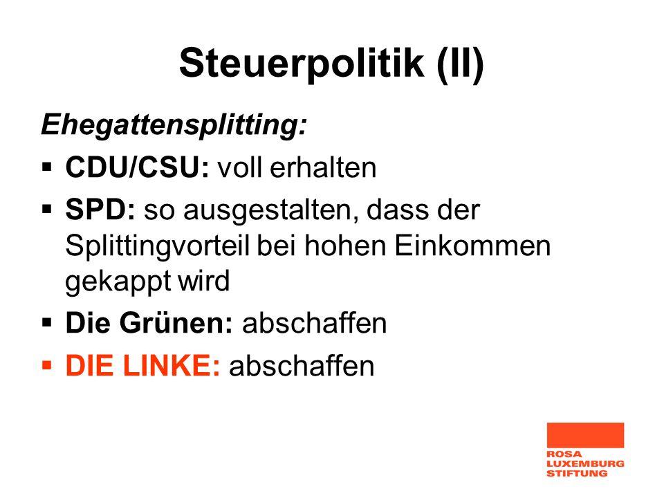 Steuerpolitik (II) Ehegattensplitting: CDU/CSU: voll erhalten SPD: so ausgestalten, dass der Splittingvorteil bei hohen Einkommen gekappt wird Die Grü