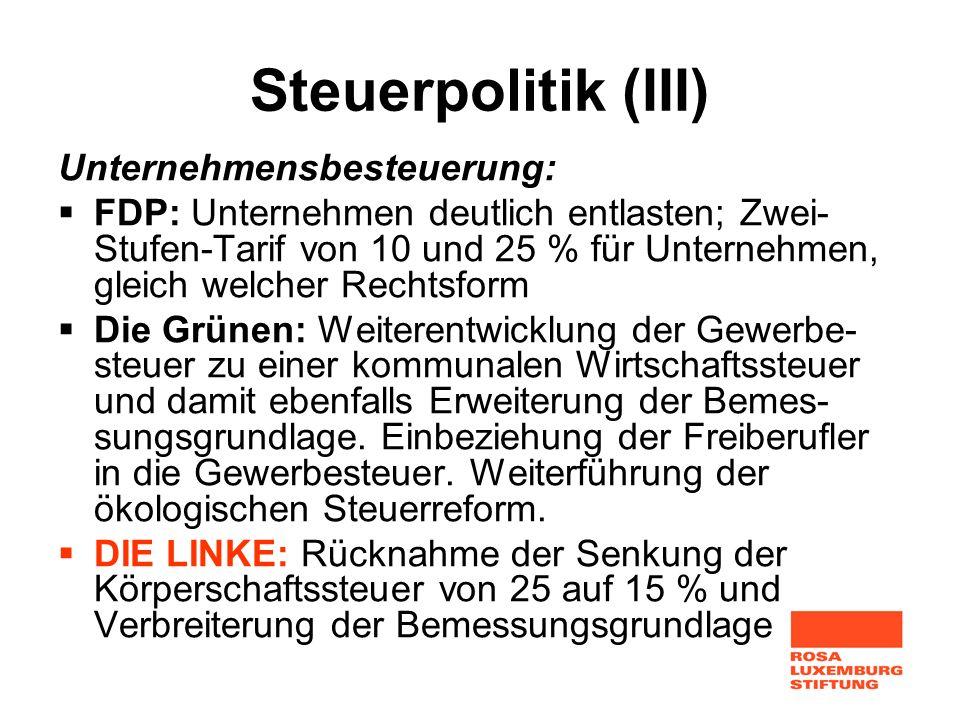 Steuerpolitik (III) Unternehmensbesteuerung: FDP: Unternehmen deutlich entlasten; Zwei- Stufen-Tarif von 10 und 25 % für Unternehmen, gleich welcher R