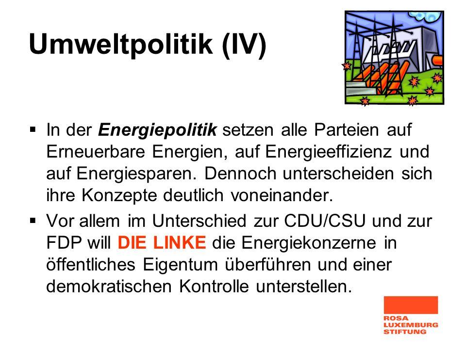 Umweltpolitik (IV) In der Energiepolitik setzen alle Parteien auf Erneuerbare Energien, auf Energieeffizienz und auf Energiesparen. Dennoch unterschei