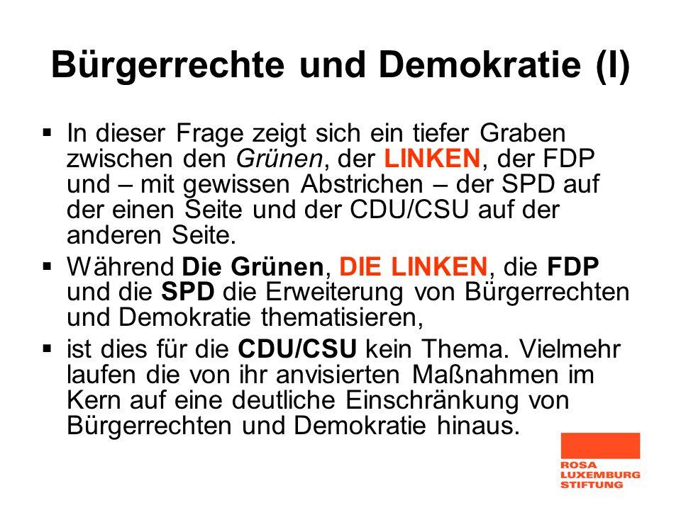 Bürgerrechte und Demokratie (I) In dieser Frage zeigt sich ein tiefer Graben zwischen den Grünen, der LINKEN, der FDP und – mit gewissen Abstrichen –