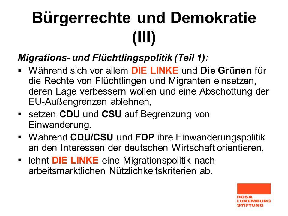 Bürgerrechte und Demokratie (III) Migrations- und Flüchtlingspolitik (Teil 1): Während sich vor allem DIE LINKE und Die Grünen für die Rechte von Flüc