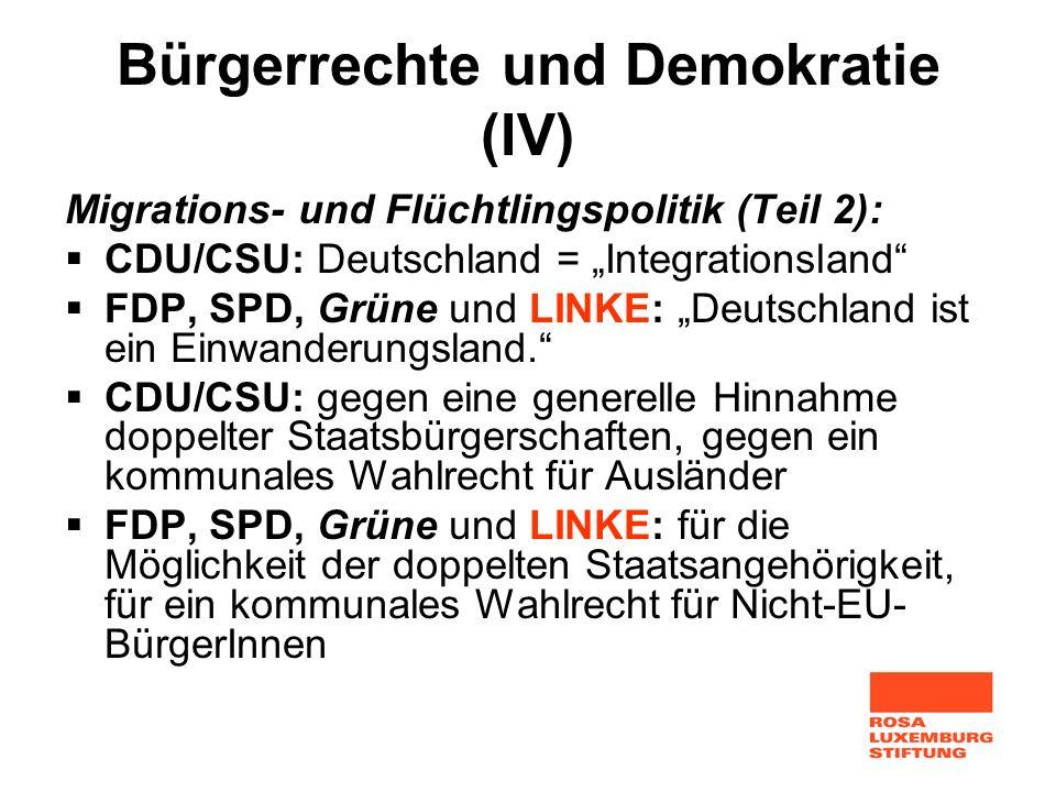 Bürgerrechte und Demokratie (IV) Migrations- und Flüchtlingspolitik (Teil 2): CDU/CSU: Deutschland = Integrationsland FDP, SPD, Grüne und LINKE: Deuts