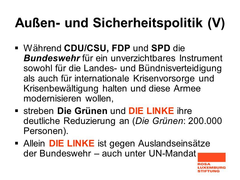 Außen- und Sicherheitspolitik (V) Während CDU/CSU, FDP und SPD die Bundeswehr für ein unverzichtbares Instrument sowohl für die Landes- und Bündnisver