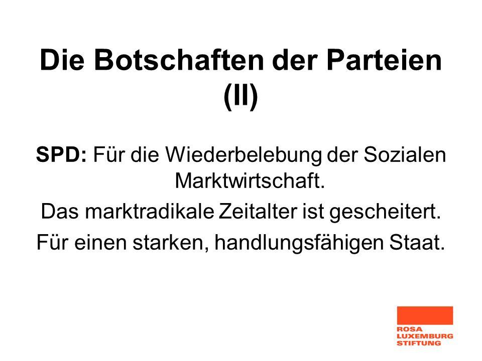 Die Botschaften der Parteien (II) SPD: Für die Wiederbelebung der Sozialen Marktwirtschaft. Das marktradikale Zeitalter ist gescheitert. Für einen sta