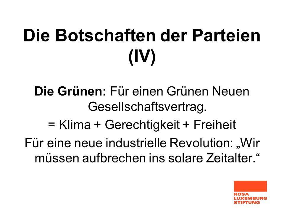 Die Botschaften der Parteien (IV) Die Grünen: Für einen Grünen Neuen Gesellschaftsvertrag. = Klima + Gerechtigkeit + Freiheit Für eine neue industriel