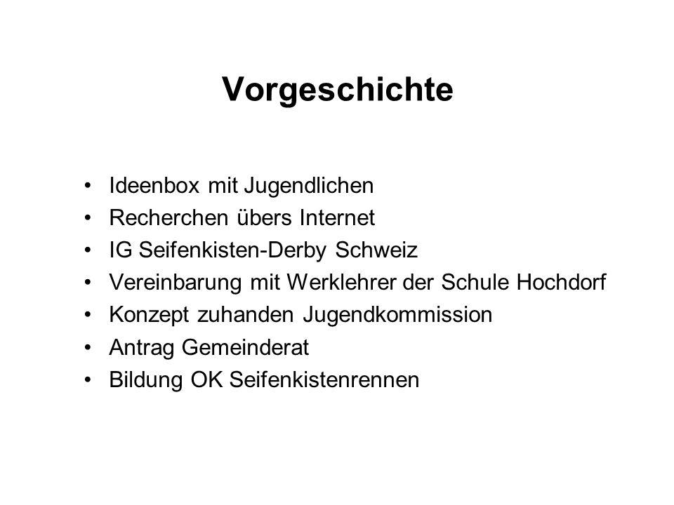 Vorgeschichte Ideenbox mit Jugendlichen Recherchen übers Internet IG Seifenkisten-Derby Schweiz Vereinbarung mit Werklehrer der Schule Hochdorf Konzept zuhanden Jugendkommission Antrag Gemeinderat Bildung OK Seifenkistenrennen