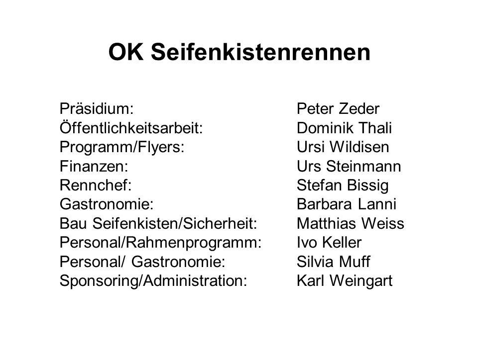 OK Seifenkistenrennen Präsidium: Öffentlichkeitsarbeit: Programm/Flyers: Finanzen: Rennchef: Gastronomie: Bau Seifenkisten/Sicherheit: Personal/Rahmen