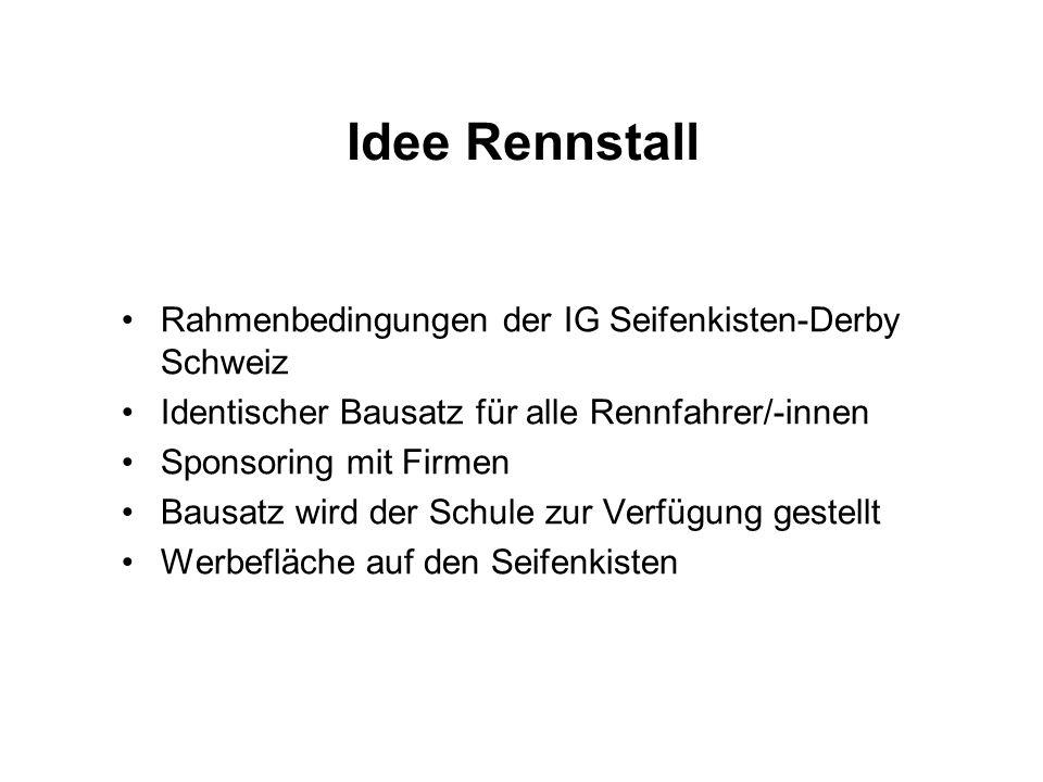 Idee Rennstall Rahmenbedingungen der IG Seifenkisten-Derby Schweiz Identischer Bausatz für alle Rennfahrer/-innen Sponsoring mit Firmen Bausatz wird d