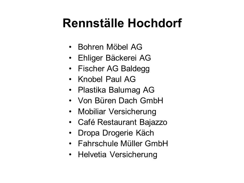 Rennställe Hochdorf Bohren Möbel AG Ehliger Bäckerei AG Fischer AG Baldegg Knobel Paul AG Plastika Balumag AG Von Büren Dach GmbH Mobiliar Versicherun