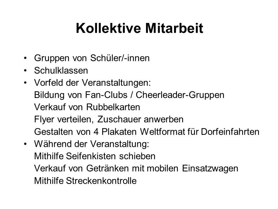 Kollektive Mitarbeit Gruppen von Schüler/-innen Schulklassen Vorfeld der Veranstaltungen: Bildung von Fan-Clubs / Cheerleader-Gruppen Verkauf von Rubb
