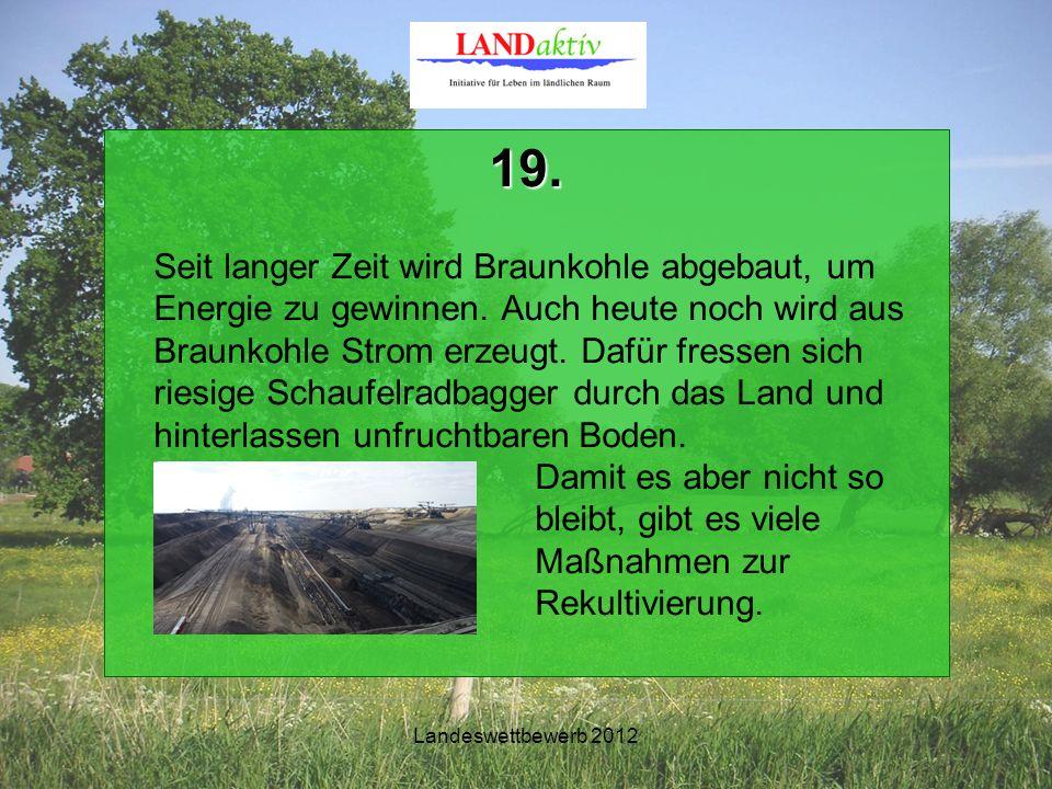 Landeswettbewerb 2012 19. Seit langer Zeit wird Braunkohle abgebaut, um Energie zu gewinnen.