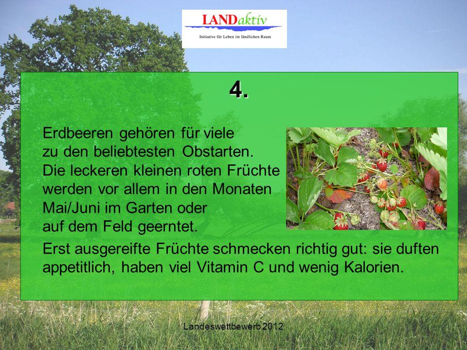 Landeswettbewerb 2012 4.Frage Wie nennt man botanisch die Früchte der Erdbeere.