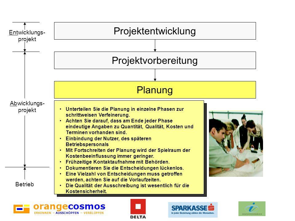 orangecosmos ERKENNEN – AUSSCHÖPFEN – VERBLÜFFEN Unterteilen Sie die Planung in einzelne Phasen zur schrittweisen Verfeinerung. Achten Sie darauf, das