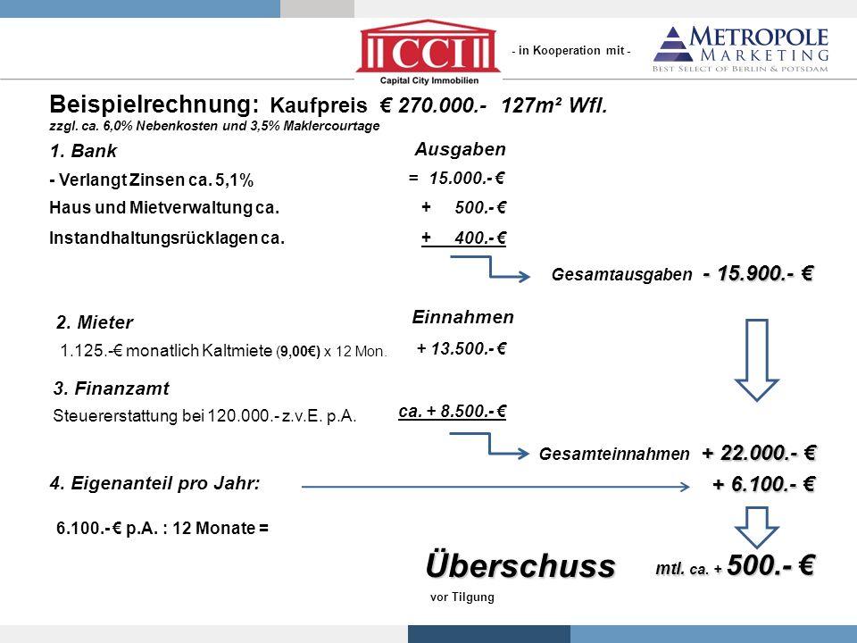 Beispielrechnung: Kaufpreis 270.000.- 127m² Wfl. zzgl. ca. 6,0% Nebenkosten und 3,5% Maklercourtage 1. Bank - Verlangt Zinsen ca. 5,1% = 15.000.- Haus