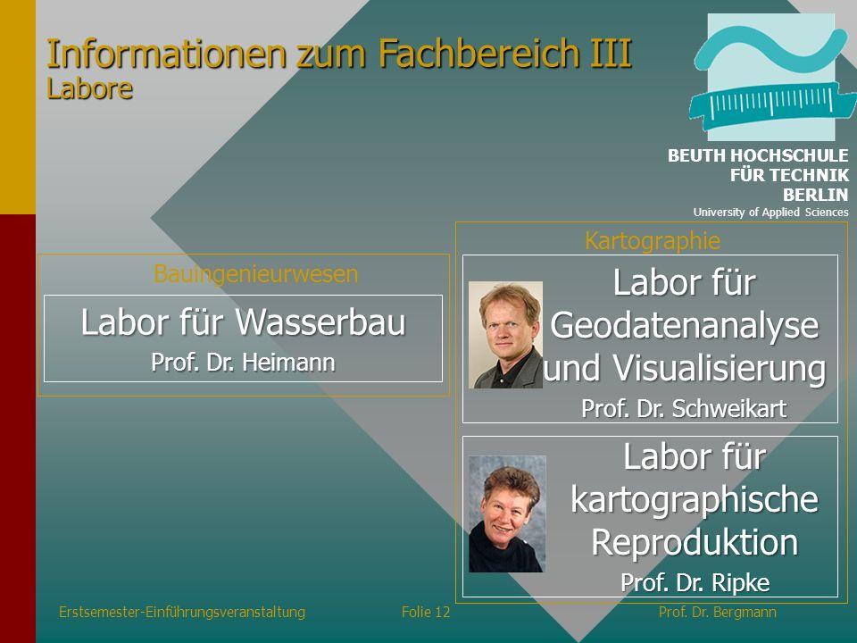 Erstsemester-EinführungsveranstaltungFolie 12Prof. Dr. Bergmann Labor für Wasserbau Prof. Dr. Heimann Bauingenieurwesen Informationen zum Fachbereich