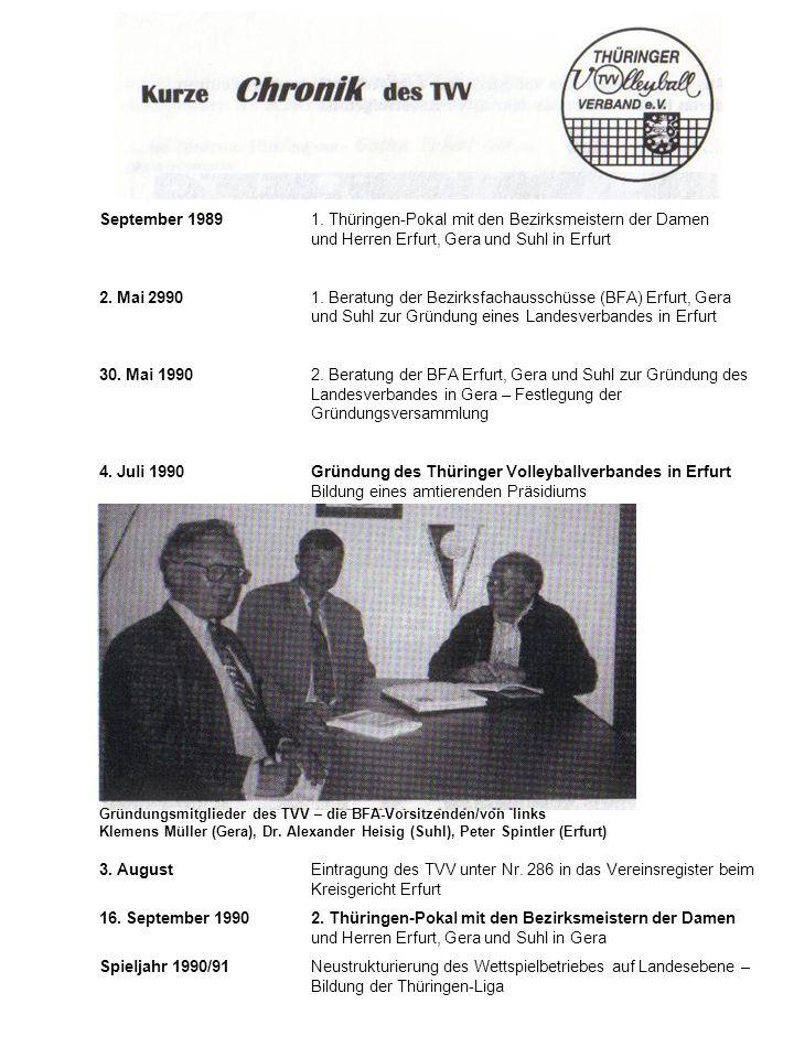 September 19891. Thüringen-Pokal mit den Bezirksmeistern der Damen und Herren Erfurt, Gera und Suhl in Erfurt 2. Mai 29901. Beratung der Bezirksfachau