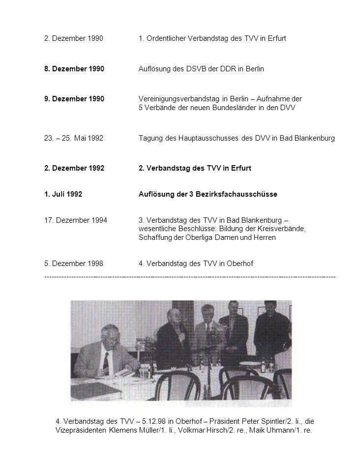 2. Dezember 19901. Ordentlicher Verbandstag des TVV in Erfurt 8. Dezember 1990Auflösung des DSVB der DDR in Berlin 9. Dezember 1990Vereinigungsverband