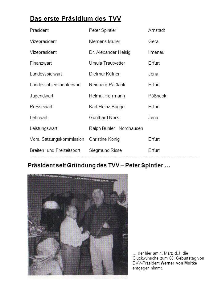 Das erste Präsidium des TVV PräsidentPeter SpintlerArnstadt VizepräsidentKlemens MüllerGera VizepräsidentDr. Alexander HeisigIlmenau FinanzwartUrsula